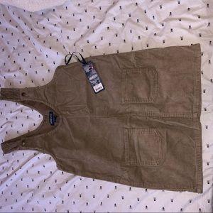 Tan Corduroy Skirt Overalls